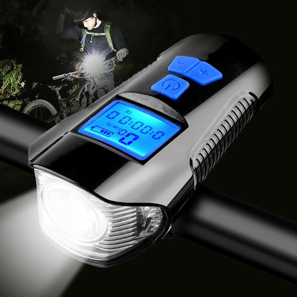 LCD Screen Waterproof Bicycle Light USB Charging Bike Front Light Flashlight Handlebar Cycling Head Light W/ Horn Speed Meter