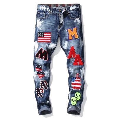 Na moda dos homens novos crachá monograma calças de brim dos homens pequenos calças retas magro motor de pintura luz azul jeans