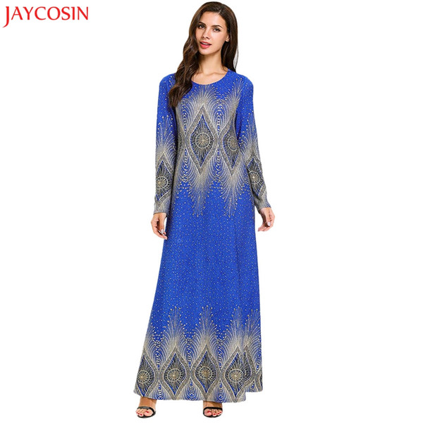 JAYCOSIN Muslim Women Modest Maxi Dress Multicolor Abaya Turkey Long Robe Kaftan Clothing muslim dresses for women plus size z4
