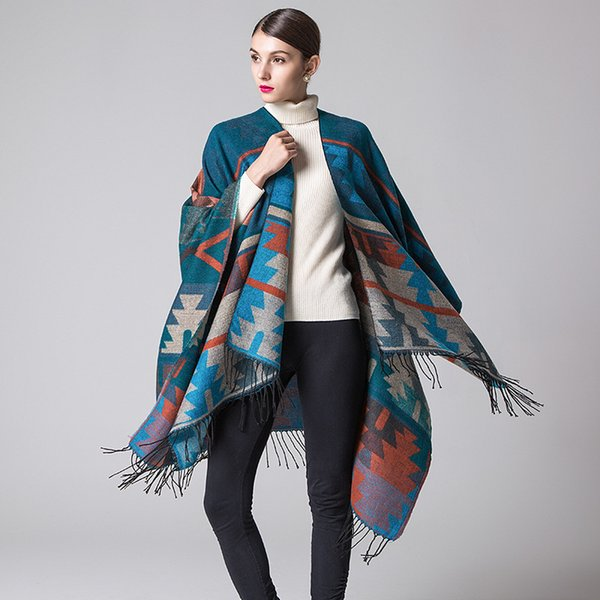 Vintage stile indiano Pashmina lusso di alta qualità imitazione sciarpe di cachemire involucri 2018 autunno e inverno geometrici scialli rombo JSF019