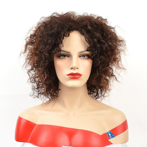 Afro Short Curly Wigs for Black Women American Ombre Brown Color Hair Synthetic Wig with Highlight