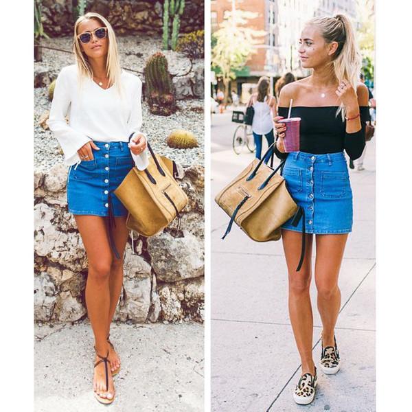 Женская мода Женская джинсовая летняя джинсовая юбка Высокая талия Bodycon Сплошной синий бинт Тонкая кнопка-карандаш Короткие мини-юбки