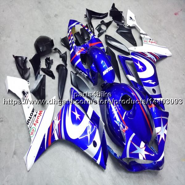 23colors + 5Gifts Molde de inyección azul blanco Capucha de motocicleta Para Yamaha YZF R1 07 08 YZF-R1 2007-2008 paneles de motor ABS