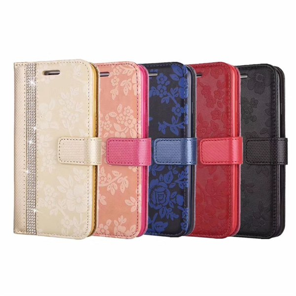 EGEEDIGI For iphone X XS MAX XR Luxury leather wallet flip phone case For iPhone 8 7 6S 6 Plus 5 with card slots diamond embossing flower