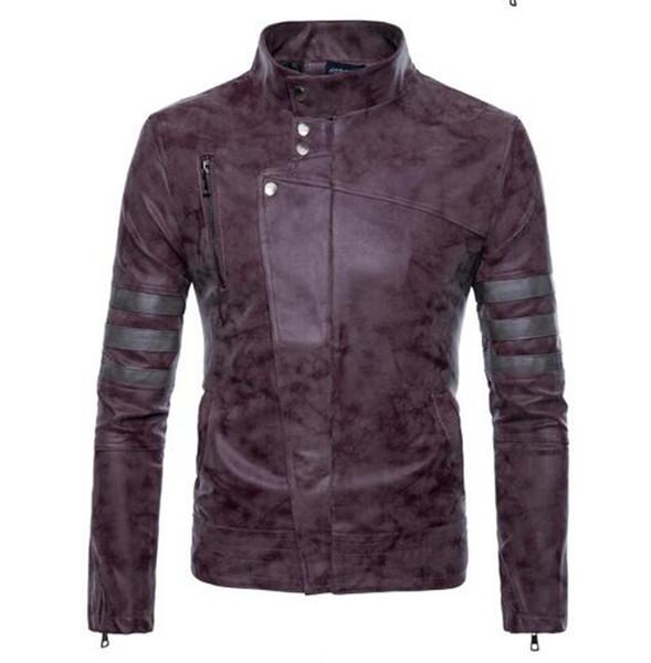 La versione coreana degli uomini di personalità speciale boutique moda primavera e autunno colletto corta vintage vecchio cappotto moto in pelle / M-4XL
