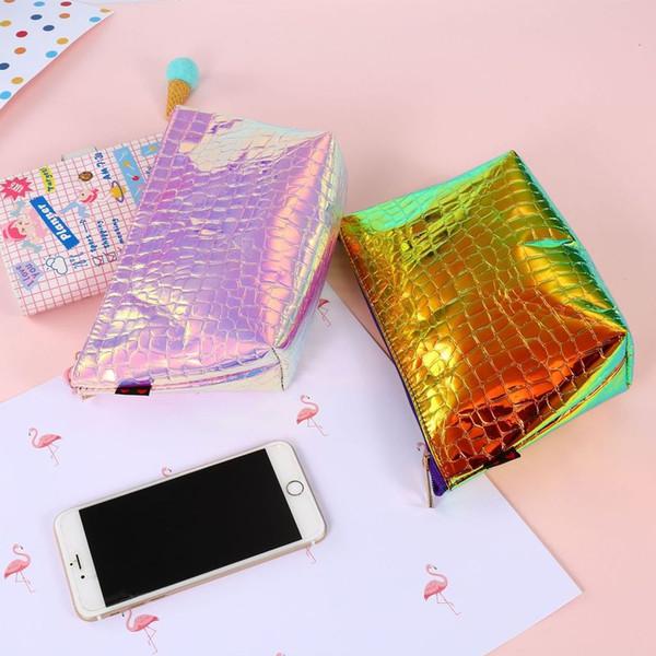 Moda Lady Bag 3 Projetos Saco de Cosmética 23.3 * 14 CM Feminino Bolsa A Laser PU Sacos de Uso Geral Bolsas De Armazenamento 10 Peças DHL