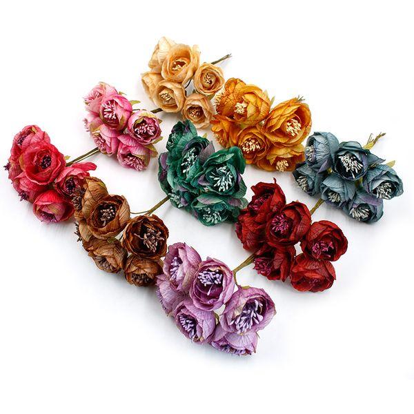 2018 New 6pcs/lot Artificial Flower Stamen Rose Bouquet Wedding Home Party Decoration DIY Clip Art Handmade Accessories Wreath