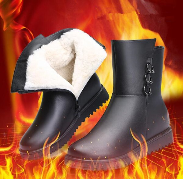 High quality cowhide Leather boots Mid-calf Women Boots flat Heel Wool Lining Winter Snow Shoes 2019 new Fashion Metallic Zipper Riding Boot