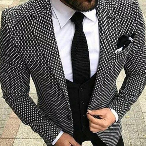 Casual Plaid Elegant Wedding Suit For Men 3Pieces(Jacket+Pant+Vest+Tie) Fashion Custom Suits Tuxedo Terno Masculino Blazer