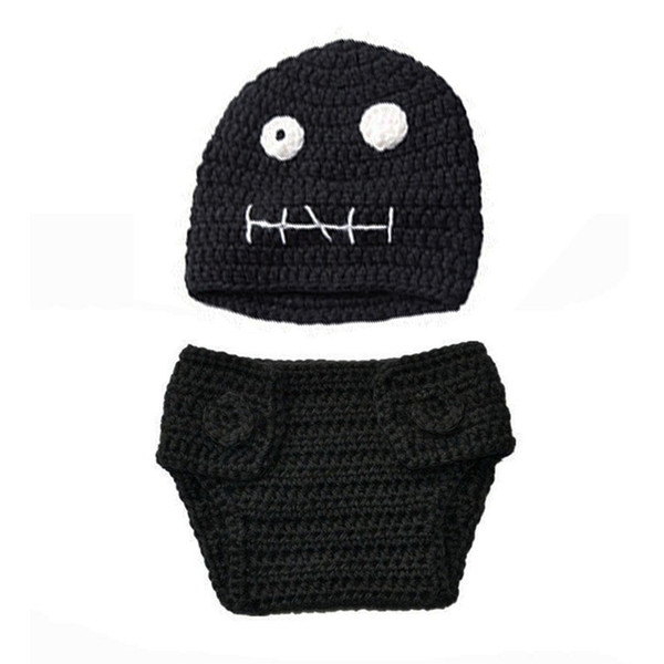 Cool Newborn Skull Costume,Handmade Crochet Baby Boy Girl Black Ghost Beanie Hat and Diaper Cover Set,Infant Halloween Costume Photo Props