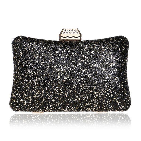Dgrain Bling Women's Fashion Evening Bag Hard Case Meatl Box Clutch Chain Shoulder & Crossbody Handbag Purse