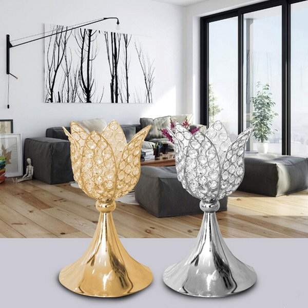 Classic gold/ silver finish lotus wedding candle holder event or party candle stand home decor metal candlestick