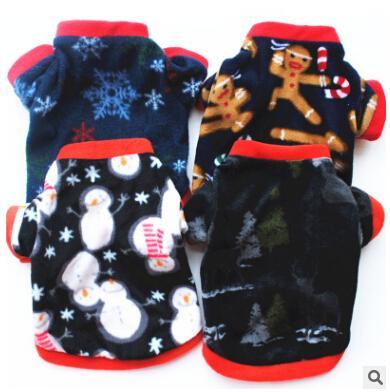 Christmas Pet Costumes Dog T Shirt Autumn Winter Warm Velvet Dog Coat Xmas Puppy Teddy Apparel