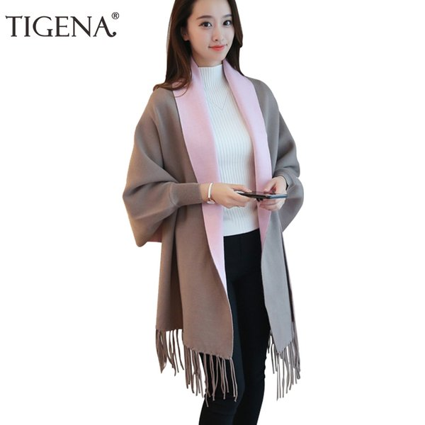 Tigena Tassel Ponchos And Capes 2019 Autumn Winter Long Cardigan Female Batwing Sleeve Warm Knitted Cardigans Women Sweater Y190823