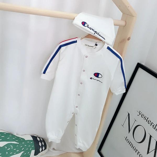 2019 printemps et automne bébé garçon nouvelle marée vêtements broderie coton barboteuse yeux bleu rouge rayures ainsi que des vêtements de velours