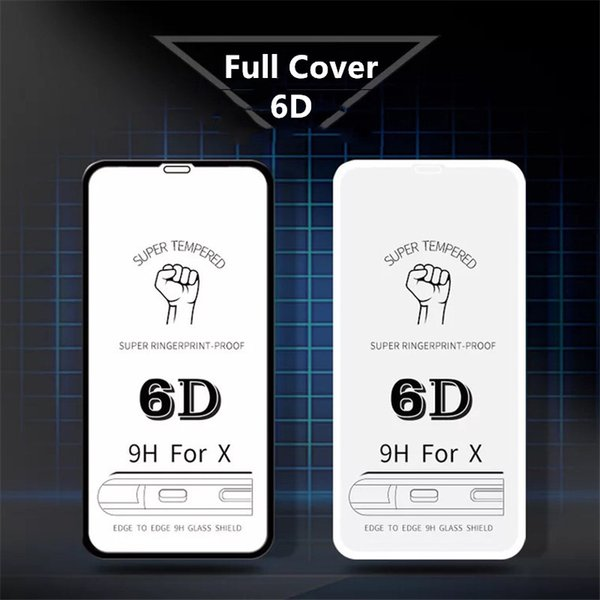 Full Cover 6D Edge Tempered Glass For iPhone XS MAX XR X Screen Protector For iPhone 6 6s 7 8 Plus Film Protection