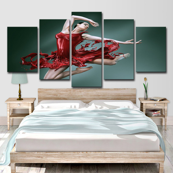 HD Printed Dance of The Red Skirt Girl 5 Piece Canvas Art Picture Painting Wall Art Room Decor Poster Canvas Free Shipping