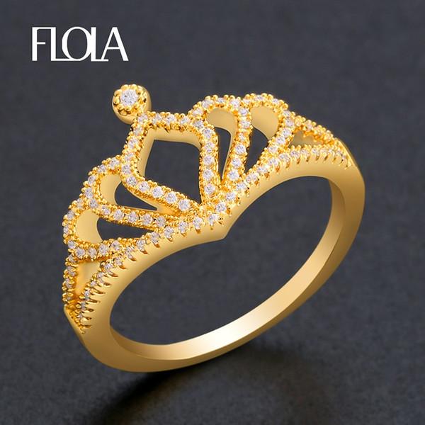 Acheter FLOLA Or Mode Princesse Couronne Bague Petite Princesse Cubique  Zircon Anneau Pour Les Femmes À La Mode Marque Bijoux Dainty Bague Righ48  De