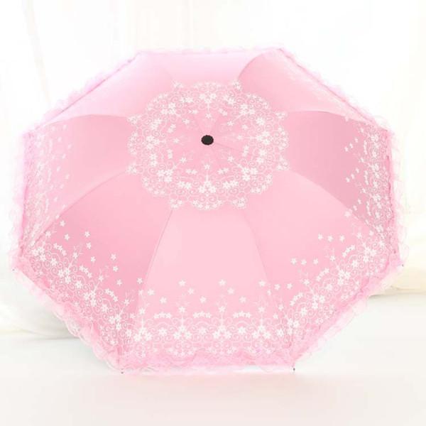 2019 Yeni Geldi Taşınabilir Dantel Çiçek Şemsiye yağmur kadınlar UV Geçirmez Güneşli / Yağmurlu şemsiye Düğün fotoğrafçılığı Şemsiy ...