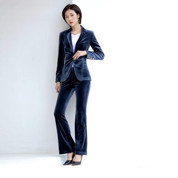 Le costume féminin costume de velours tempérament mince en deux parties de blazer femmes avec un pantalon ensemble d'usure d'affaires