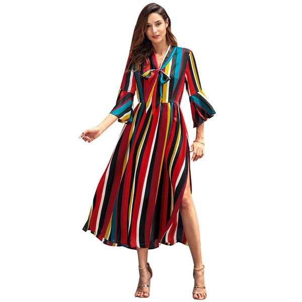 Women's 2019 Spring New Long-sleeved Rainbow Striped Split Long Dress Womens A-line Panelled Color V-neck Casual Dress 2 Style Size S-XL