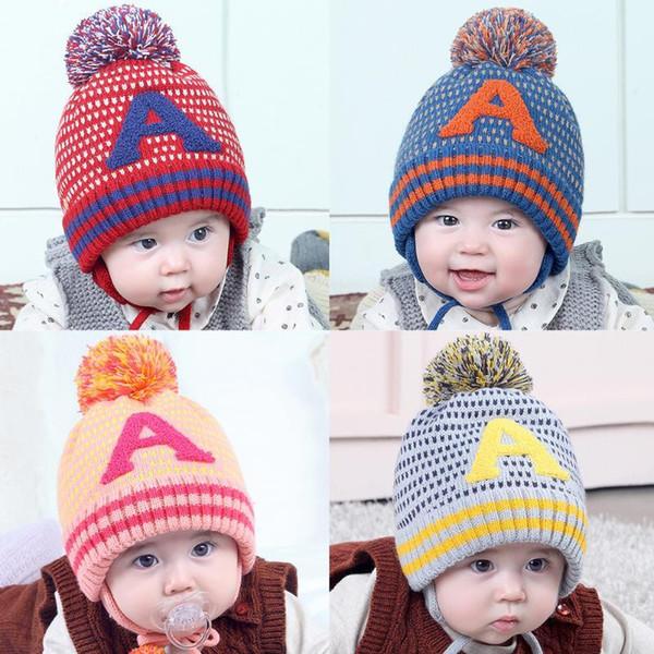 Otoño Invierno Sombrero del bebé Engrosado de punto Niños Warm Fleece Cap Skullies Lindo Boy Hairball Hat Moda niños Earflap Beanie Cap