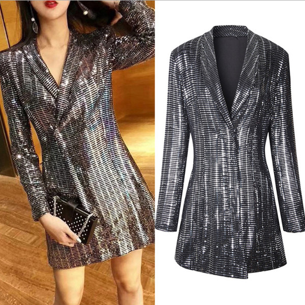 2019 Sale Sequins dress suit gold jacket dress womens dressy ladies hippy hippie blazer knee length mini midi pencil dress long sleeve