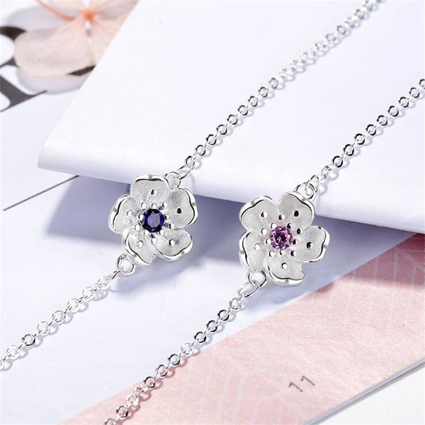 New Beautiful Two Colors Pink Sakura Flower 925 Sterling Silver Fashion Jewelry Fresh Exquisite Crystal Plant Bracelets B175