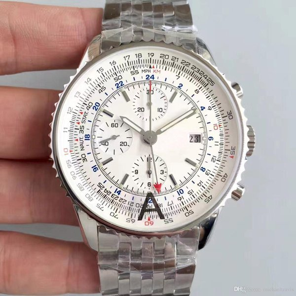 High Quality Luxury Watch Quartz Chronograph 43MM White Dial 316L Premium Stainless Steel Sapphire Strap Men's Sport Watche