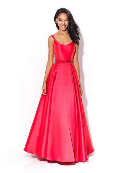 Robes de bal sexy et moulues Une robe de danse Retour Zipper Col rond Épaule Ceinture Taille Couture Perles Brillantes Paquet Personnalisé