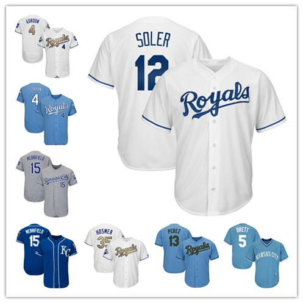 Mens Kansas City 15 Whit Merrifield 13 Salvador Perez 5 George Brett 16 Bo Jackson 4 Alex Gordon 6 Billy Hamilton Royals Baseball Maglie