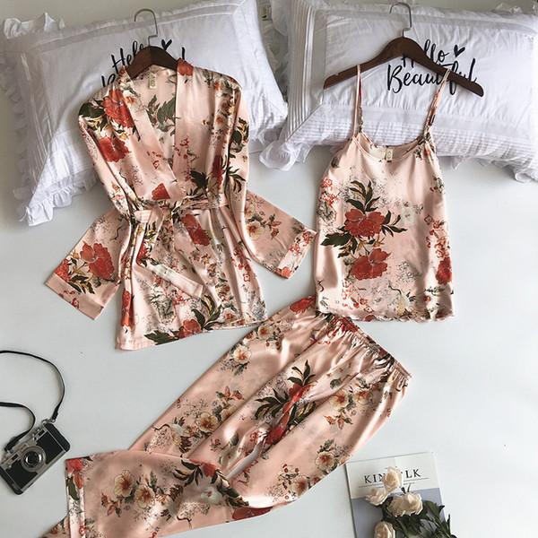 New 3 Pcs Women Pajamas Sets With Pants Sexy Pyjama Satin Flower Print Nightwear Silk Negligee Sleepwear Pyjama