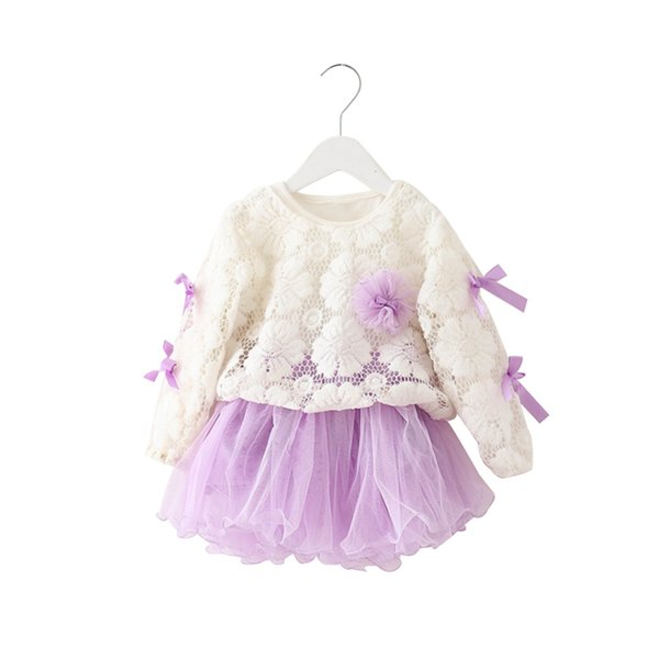Girl Princess Dress Cute Lace Long Sleeve Dress Bow Knot Patch for Children Children Spring and Autumn Clothing