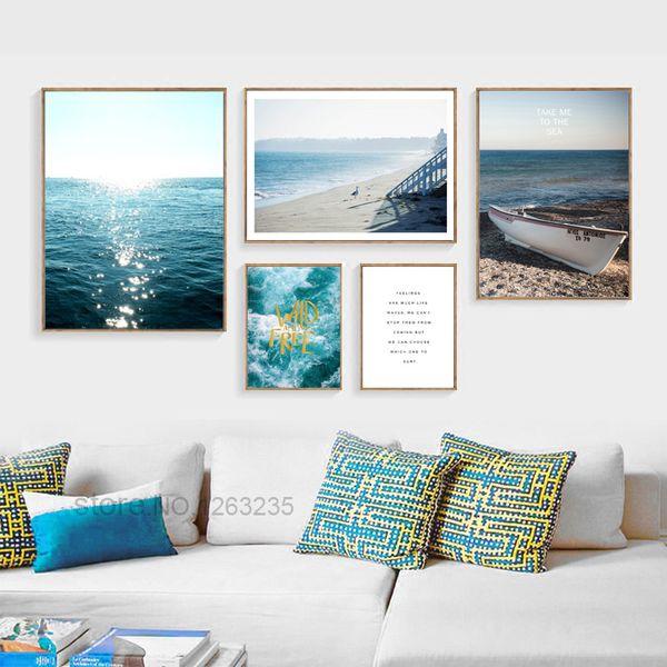 Affiches Ferry bleu et Gravures Seawater Mur Art peinture sur toile nordique Poster image Toile photos pour Living Room Unframed