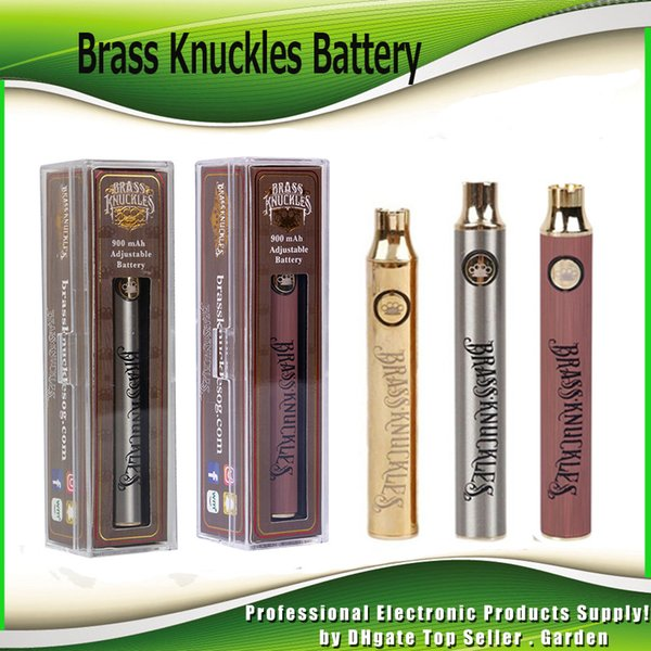 best selling Brass Knuckles Battery 650mAh Gold 900mAh Wood Adjustable Variable Voltage Preheat O Pen Bud Touch Battery For 510 Thick Oil Cartridge Tank