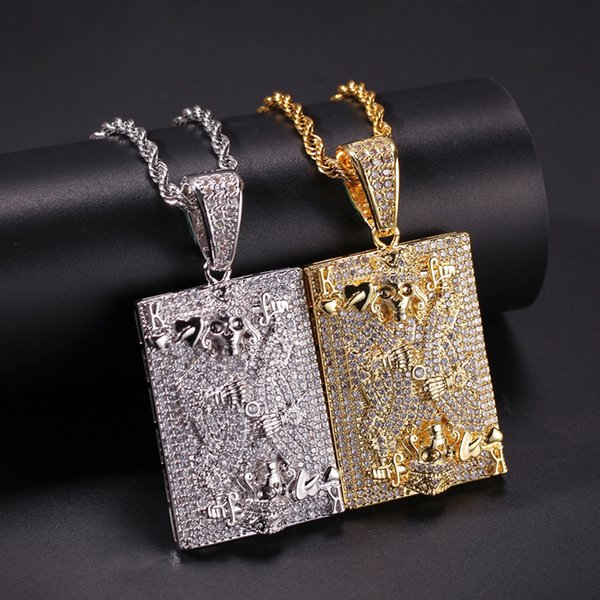 Hohe Qualität 18 Karat Gelb Weißes Gold Überzogen Voll Cubic Heart K Schädel Anhänger Halskette für Männer Hip Hop Schmuck Schönes Geschenk