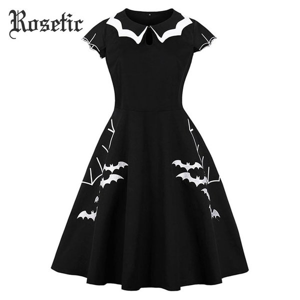 Rosetic Gothic Summer Dress Women Vestido Black Bat Embroidery Hollow-out Color Block Peter Pan Collar Retro Halloween Dresses Y19012201
