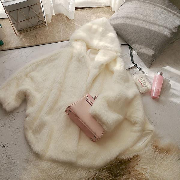 fluffy chic loose plus size faux fur cape cloak women 2019 fall winter beige hooded medium long coats w1889