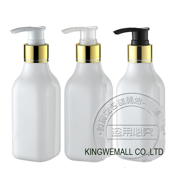 Бесплатная доставка-300 шт./лот DIY 200 мл Белый квадрат пластиковая бутылка с серебряными крышками, 200cc лосьон насос бутылка, крем бутылка