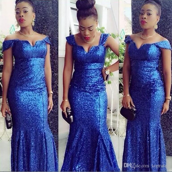 2020 Sparkly Royal Blue Sequined Long Cheap Prom Dresses Straps V Neck Mermaid Floor Length Formal Evening Party Gowns Bridesmaid Dresses