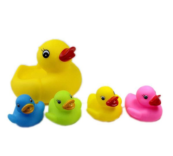 5 Set Giocattoli da bagno 20CM6CM Baby Fun Shower da 8 pollici Interessanti Mini Yellow Rubber Duck Blue Green Red Yellow Set da 5 1 Big