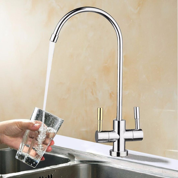 top popular High Quality 1 4'' Drinking RO Water Filter Faucet Stainless Steel Finish Reverse Osmosis Sink Kitchen Double Holes Water Intake 2019