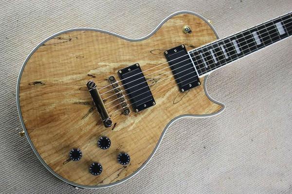Personalizado cor de madeira frente e verso maple folheado guitarra elétrica ebony fingerboard