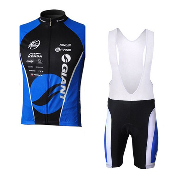 GIANT team Cycling Sleeveless jersey Vest bib short set summer Men Breathable Quick Dry Polyester bike wear Outdoor sports clothes U71012