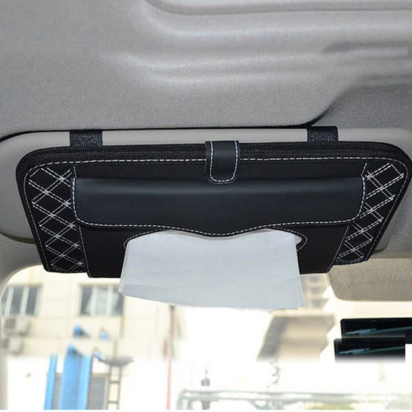2019Car Sun Visor Organizer Storage Bag Card Holder Paper towel package Multifunctional Pen Sunglasses Umbrella Stowing Tidying