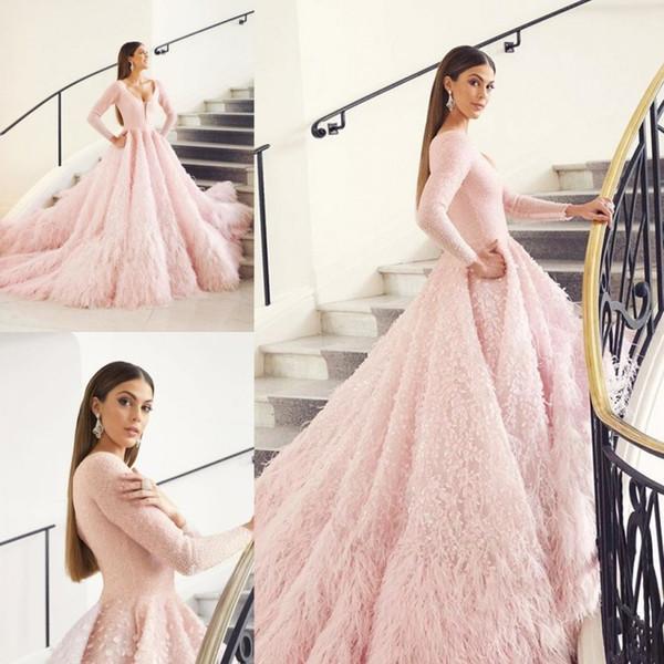 Luxus Feder Abendkleider V-ausschnitt Eine Linie Spitze Appliques Langarm Abendkleid Nach Maß Mädchen Quinceanera Kleider Für Besondere Anlässe