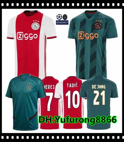 19 20 AJAX FC soccer jerseys DE JONG TADIC DE LIGT ZIYECH VAN BEEK NERES MEN KIDS Thailand 2019 2020 Netherland champions football kit shirt