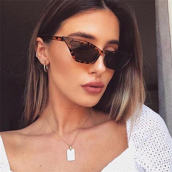 Cute Leopard Cat Eye Sunglasses Women 2019 Luxury Red Black Small Narrow Glasses Vintage Retro Triangle Cateye Sunglasses clear