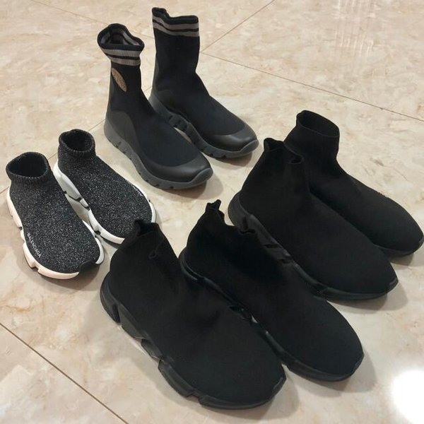 best selling 2019 Top Quality Knit Socks shoes mens womens sneakers speed trainer High Race Runners Black white Slip-on triple s Casual Shoes