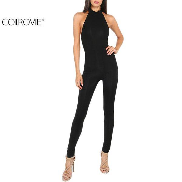 Colrovie das mulheres geral calças pretas, slim voltar shoes, verão sem mangas rodada entalhe bodyson apertado workwear sh190710
